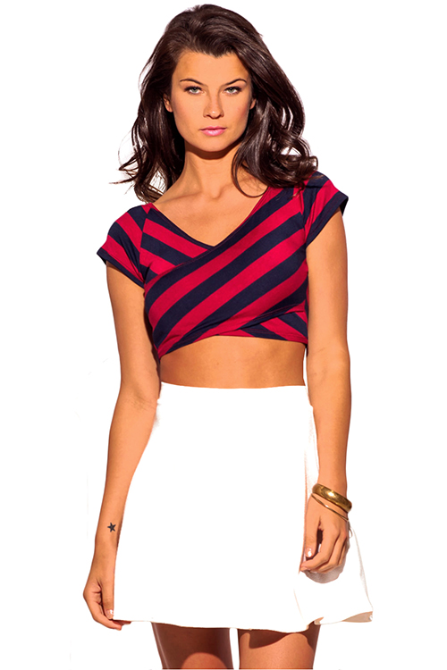 Cute cheap navy blue red stripe criss cross v neck fitted tee crop top