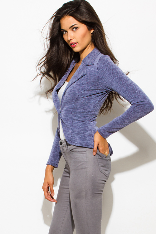 Cute cheap navy blue ribbed textured single button fitted blazer jacket top