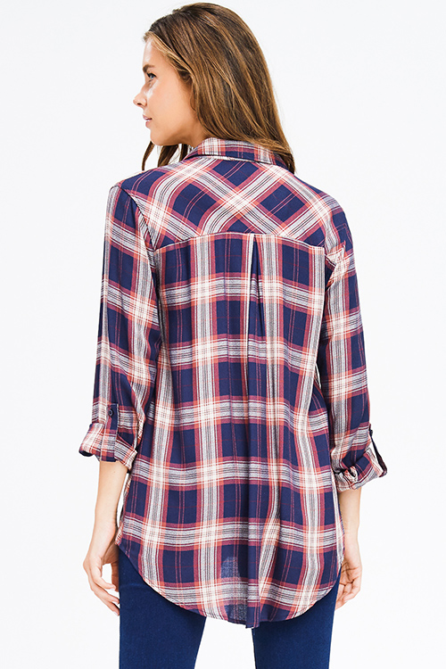 Cute cheap navy blue rust plaid pocket front button long sleeve up boho blouse top