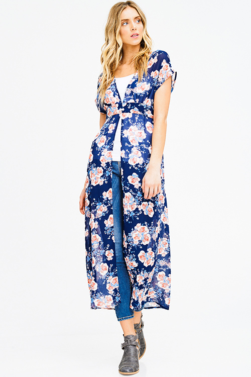 Cute cheap navy blue sheer chiffon floral print buttoned short sleeve boho beach cover up maxi top