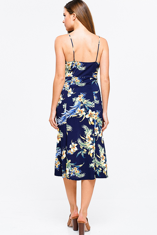 Cute cheap Navy blue sleeveless tropical floral print cut out tie front boho pencil midi sun dress