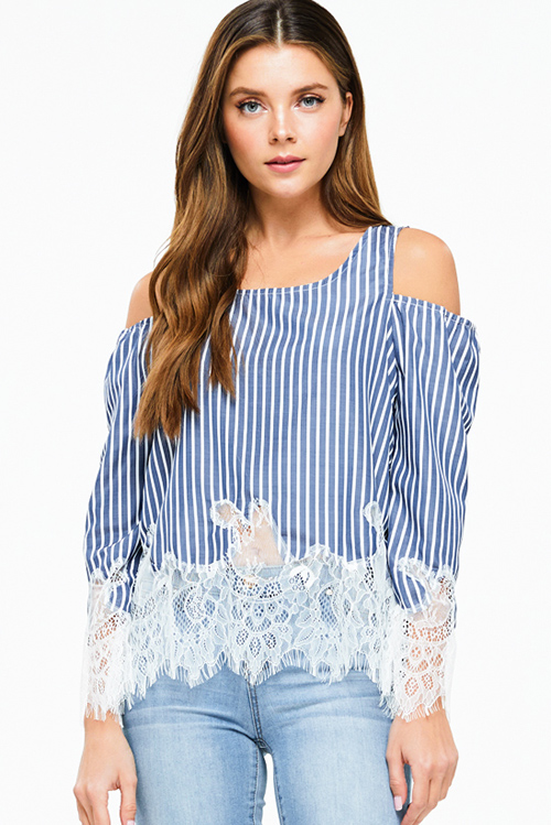 Cute cheap navy blue striped cold shoulder long sleeve lace hem boho blouse top