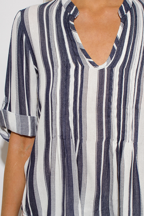 Cute cheap navy blue striped indian collar quarter sleeve resort boho peasant blouse top