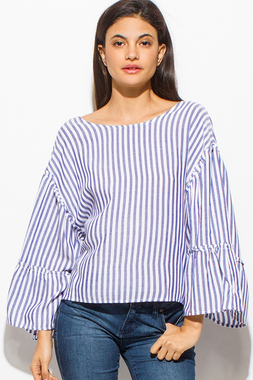 Cute cheap navy blue striped long tiered wide bell sleeve keyhole tie back nautical boho top
