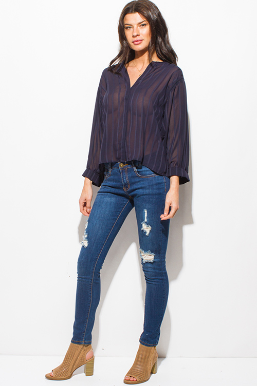 Cute cheap navy blue striped semi sheer chiffon indian collar long sleeve button up boho blouse top
