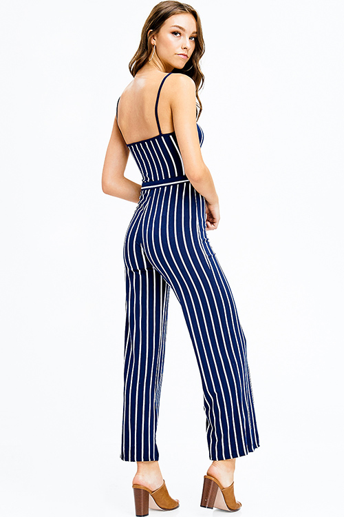 Cute cheap navy blue striped sleeveless tie waist wide leg party club jumpsuit