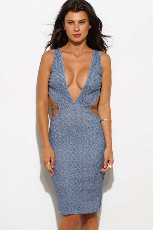 Cute cheap navy blue striped textured low v neck sleeveless cut out bodycon clubbing midi dress