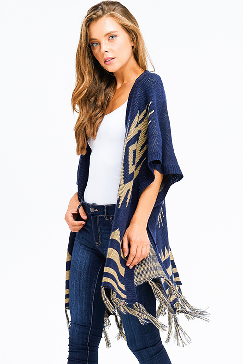 Cute cheap navy blue sweater knit ethnic print tassel fringe trim boho shawl poncho cardigan jacket
