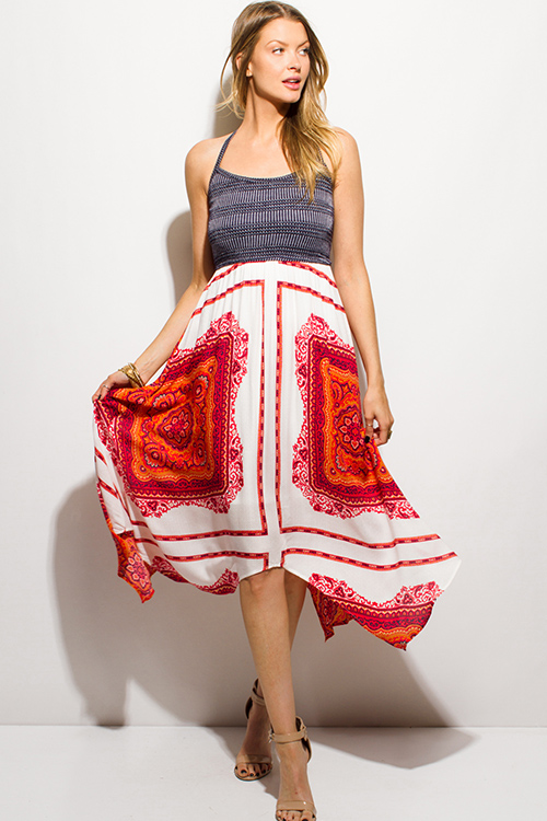 Cute cheap navy blue textured halter red orange regal print handkerchief boho midi sun dress