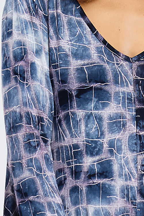 Cute cheap navy blue tie dye abstract print v neck long sleeve open back pocketed boho swing mini dress