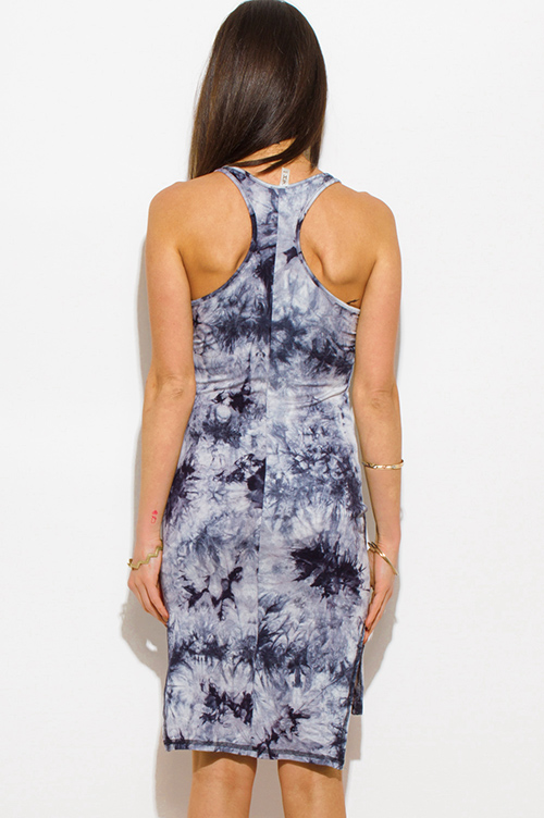 Cute cheap navy blue tie dye sleeveless racer back side slit bodycon fitted club midi dress