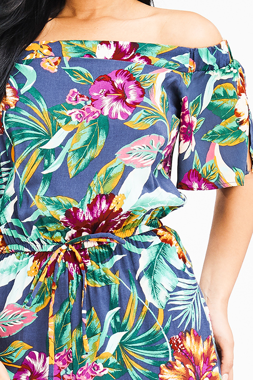 Cute cheap navy blue tropical floral print off shoulder short sleeve tie waist boho resort wide leg jumpsuit