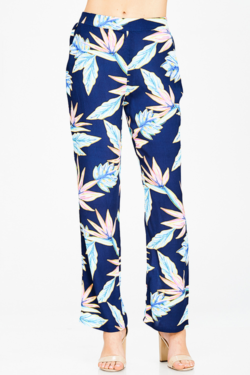 Cute cheap navy blue tropical print high waisted resort boho wide leg pants