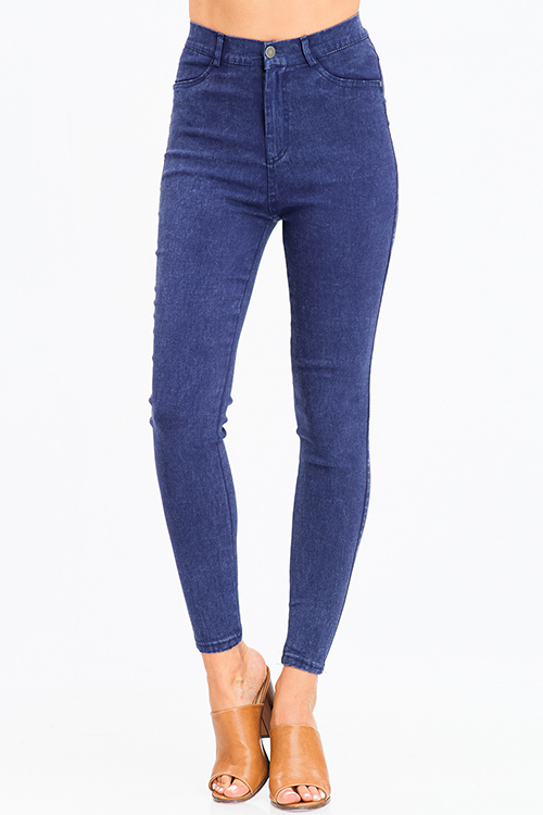 Cute cheap navy blue vintage wash denim ultra high waisted skinny jean legging jeggings