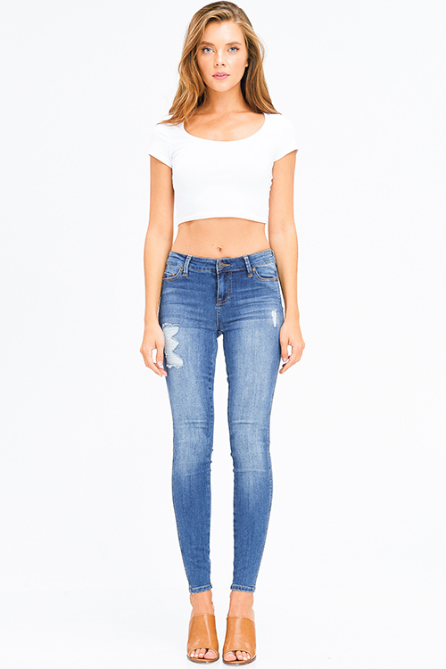 Cute cheap navy blue washed denim mid rise distressed frayed sculpt skinny jeans