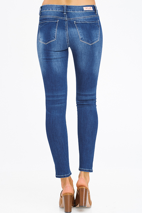 Cute cheap navy blue washed denim mid rise fitted skinny jeans