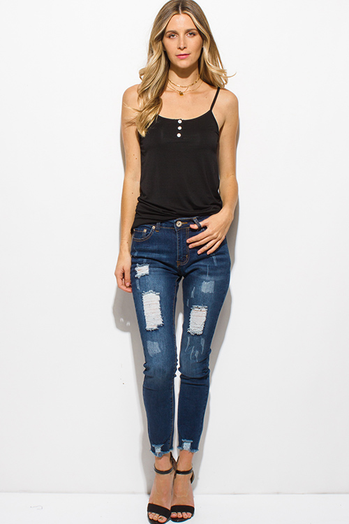 Cute cheap navy blue washed denim mid rise scratch distressed frayed ripped hem skinny jeans