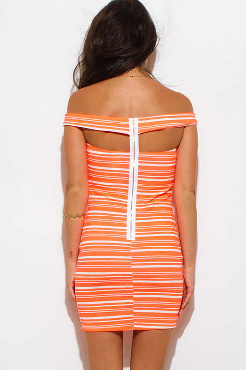 Cute cheap neon coral orange striped textured off shoulder strapless bodycon mini club dress