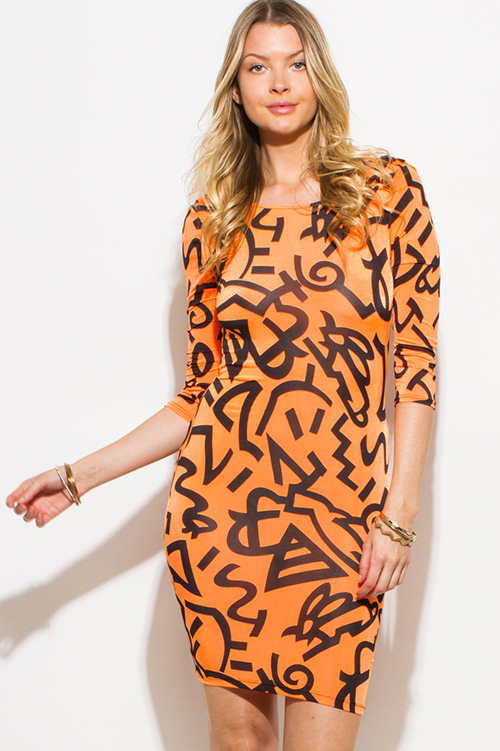 Cute cheap neon orange abstract print quarter sleeve draped open back bodycon fitted club mini dress