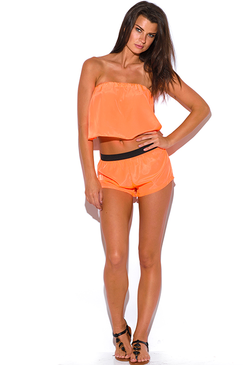 Cute cheap neon orange strapless backless crepe tube crop top
