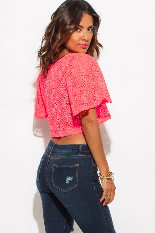 Cute cheap neon pink crochet lace flutter sleeve boho crop top