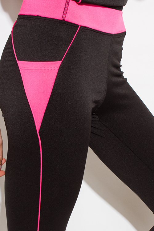 Cute cheap neon pink waist band color block black fitness yoga leggings