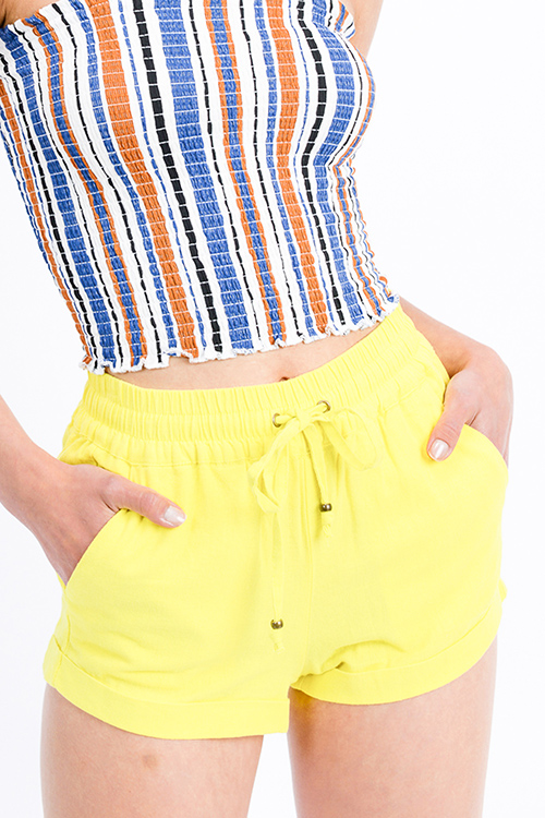 Cute cheap Neon yellow linen mid rise tie waist pocketed boho lounge shorts