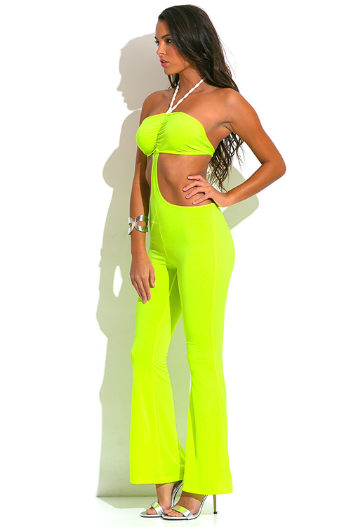 Cute cheap neon yellow green rope halter cut out backless wide leg resort summer party jumpsuit