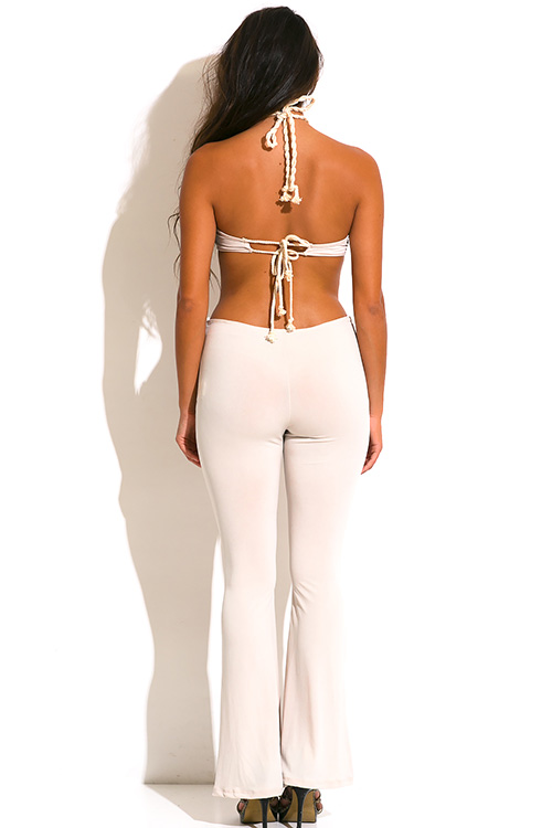 Cute cheap nude beige rope halter cut out backless wide leg summer party jumpsuit