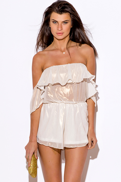 Cute cheap ivory white metallic chiffon ruffle off shoulder party romper jumpsuit