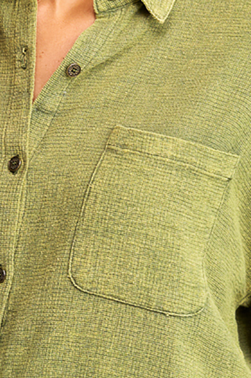Cute cheap Olive green acid washed cotton long sleeve button up oversized boho blouse top