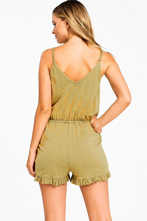 Cute cheap Olive green acid washed sleeveless ruffled surplice boho pocketed romper playsuit