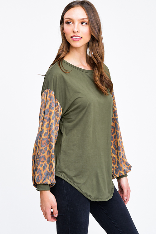 Cute cheap Olive green animal print long bubble sleeve round neck boho top