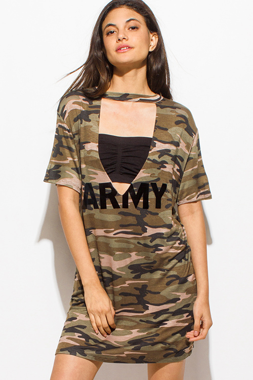 Shop wholesale womens olive green army camo print choker for Green camo shirt outfit