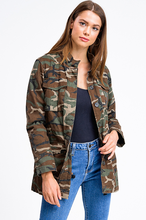 Cute cheap Olive green army camo print long sleeve pocketed quilted button up anorak jacket