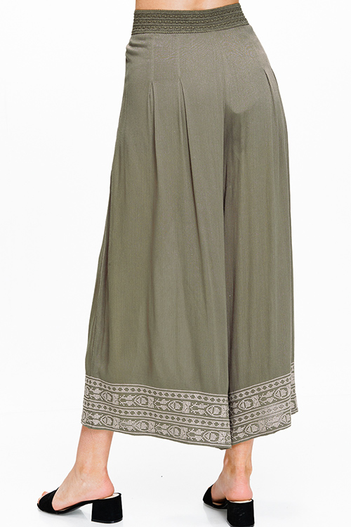 Cute cheap Olive green banded high waisted wide leg embroidered hem boho resort palazzo pants