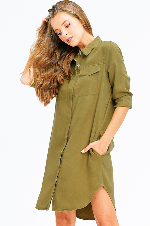 Shop Wholesale Womens Olive Green Button Up Long Sleeve