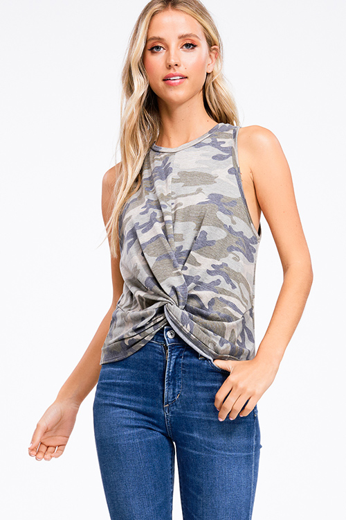 Cute cheap Olive green camo print sleeveless round neck twist knot front boho party tank top