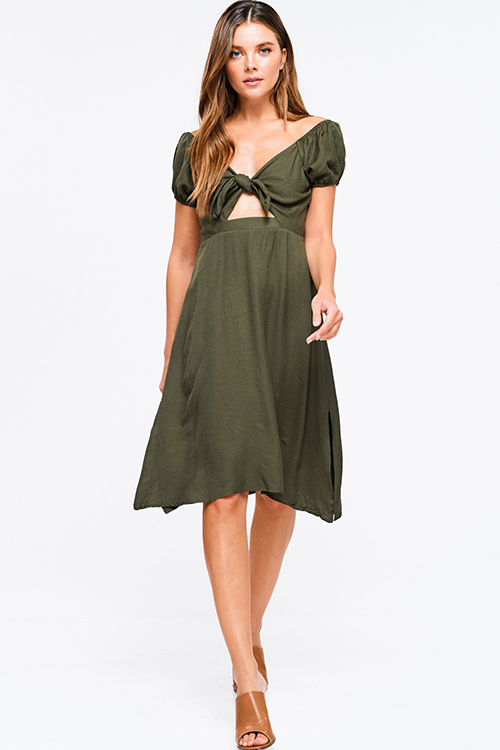 9a799c55b8fe69 Cute cheap Olive green cap sleeve cut out tie front shirred back side slit  a line