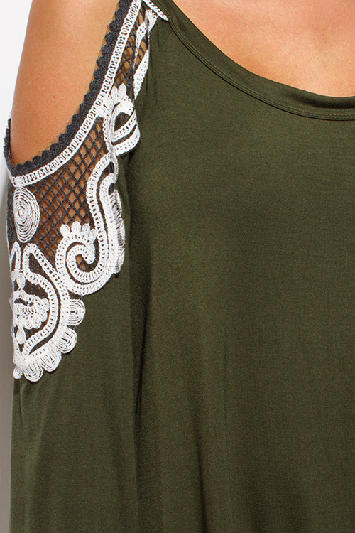 Cute cheap olive green cold shoulder cut out long sleeve lace applique boho tunic top