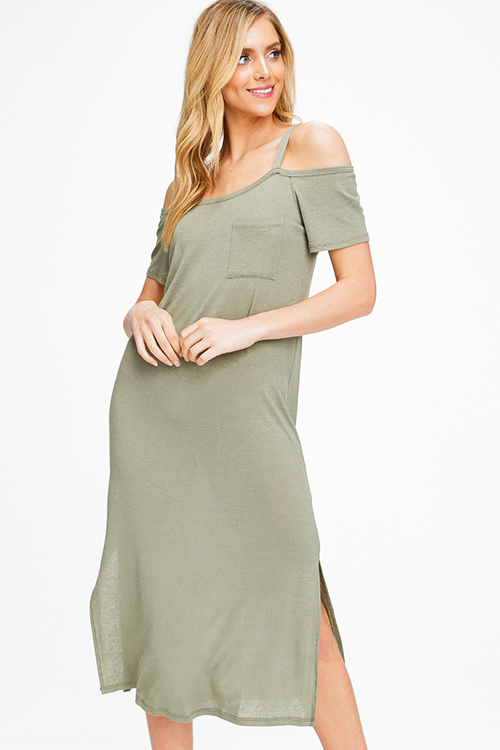 91633c8eedc Cute cheap Olive green linen cold shoulder short sleeve slit side boho maxi  tee shirt sun
