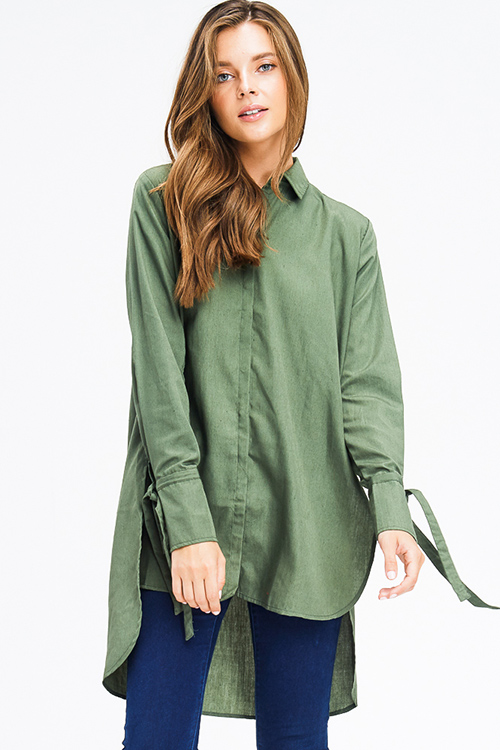 Cute cheap olive green cotton blend long tie sleeve high low button up tunic blouse shirt dress