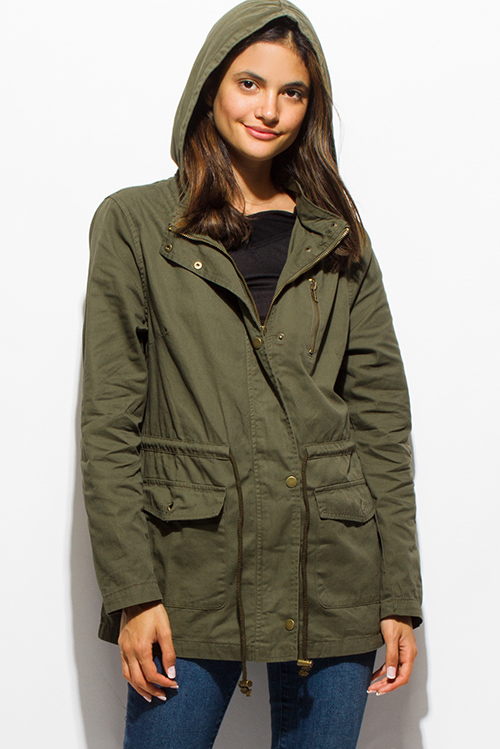 Shop Olive Green Cotton Utility Cargo Hooded Pocketed