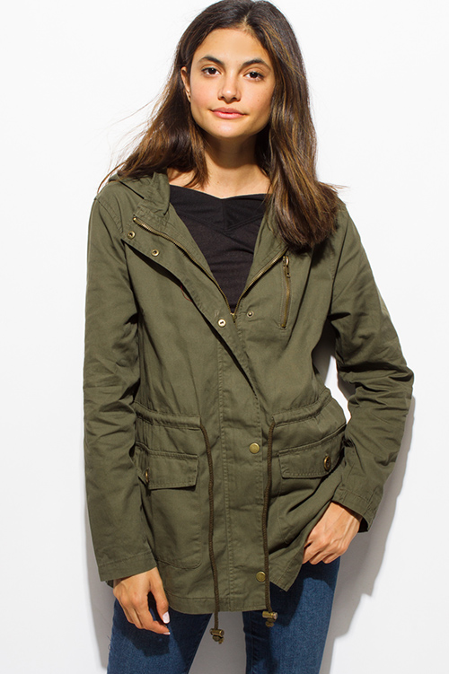 Shop olive green cotton utility cargo hooded pocketed anorak ...