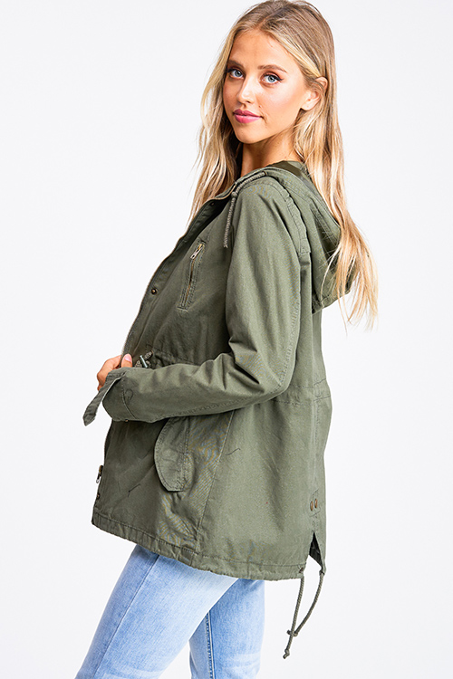 Cute cheap Olive green cotton zip up drawstring waist hooded pocketed cargo anorak jacket