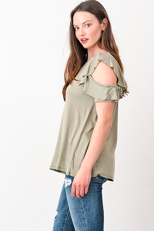 Cute cheap Olive green cut out ruffled sleeve round neck boho top
