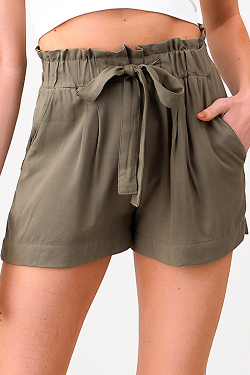 Cute cheap Olive green elastic tie high waisted pocketed resort boho paperbag summer shorts