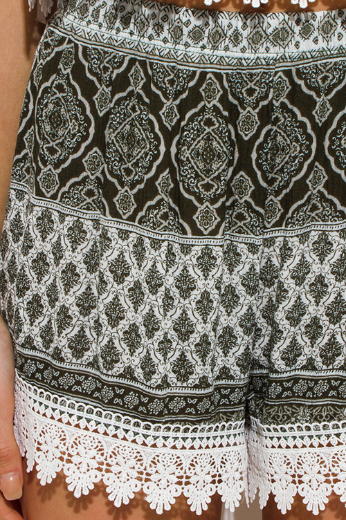 Cute cheap olive green ethnic print crochet lace trim boho lounge summer shorts