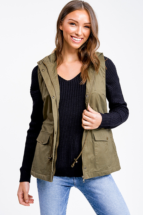 Cute cheap Olive green faux fur fleece lined zip up hooded anorak trench vest jacket