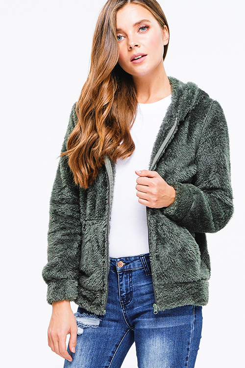 Cute cheap Olive green faux fur fuzzy fleece long sleeve zip up pocketed hooded teddy jacket